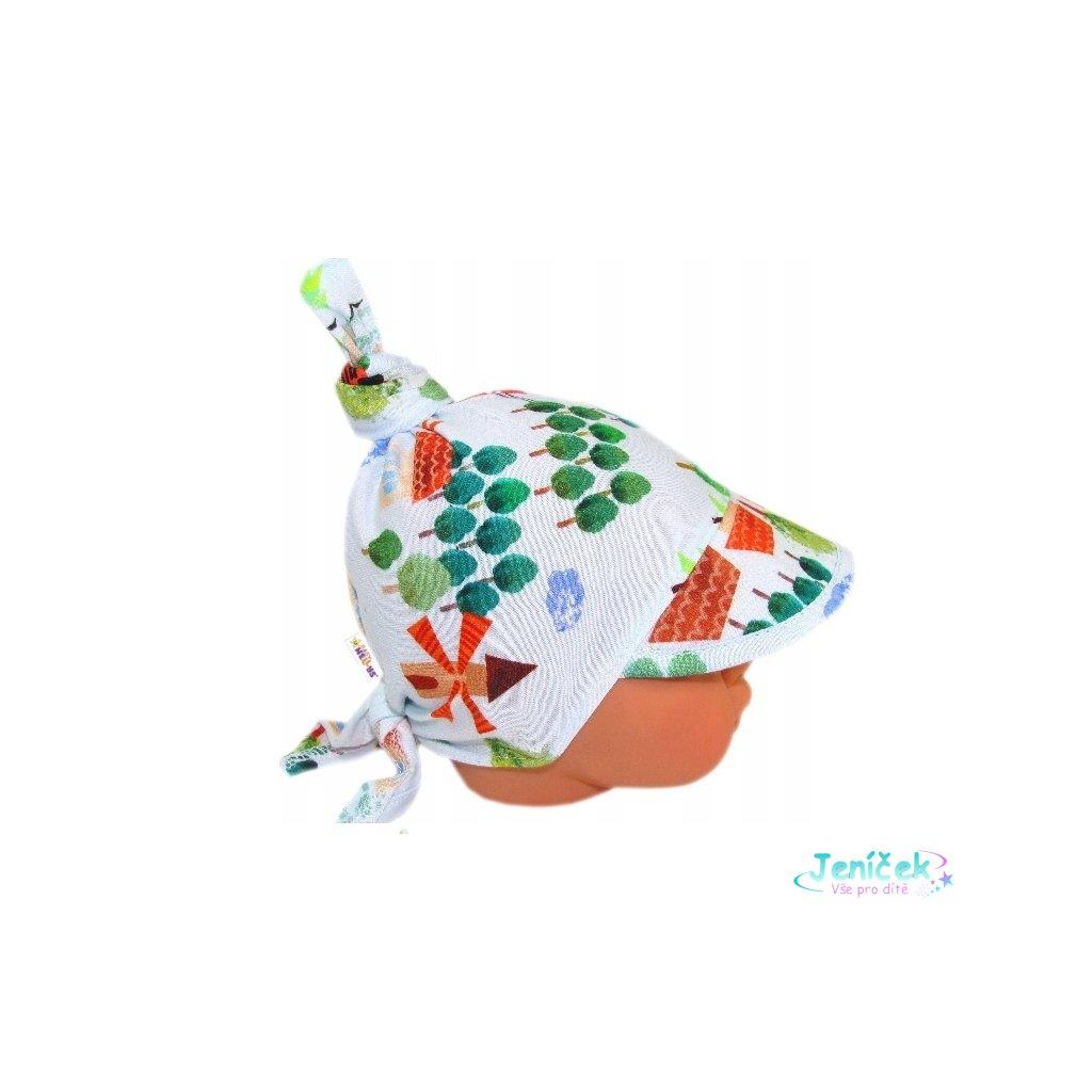 Baby Nellys Dětský bavlněný šátek s kšiltem na zavazování, městečko - sv. modrá