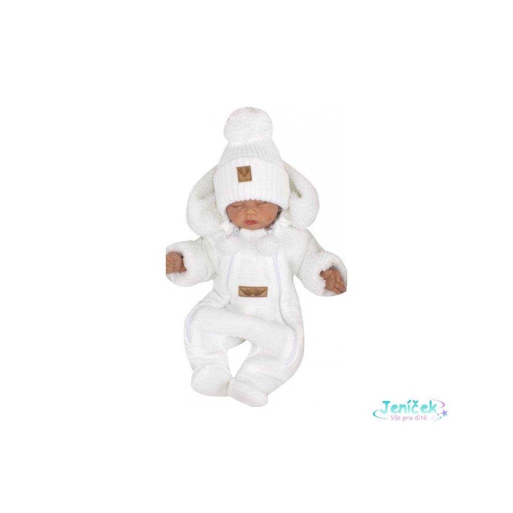 Z&Z Zimní pletená kombinéza s odnímatelnou kapucí - bílá v