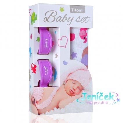 Baby set - bambusová osuška pink elephants / růžoví sloni + kočárkový kolíček lilac / fialová