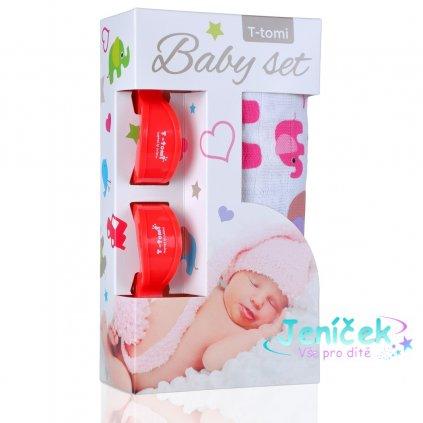 Baby set - bambusová osuška pink elephants / růžoví sloni + kočárkový kolíček red / červená