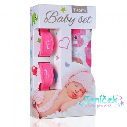 Baby set - bambusová osuška pink elephants / růžoví sloni + kočárkový kolíček pink / růžová