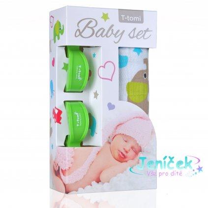 Baby set - bambusová osuška green elephants / zelení sloni + kočárkový kolíček green / zelená