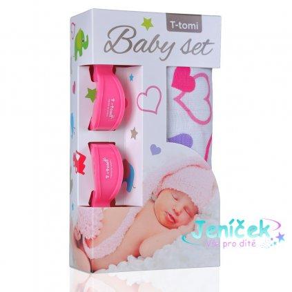 Baby set - bambusová osuška hearts / srdíčka + kočárkový kolíček pink / růžová