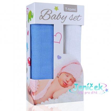 Baby set - bambusová osuška blue / modrá + bambusová osuška white / bílá