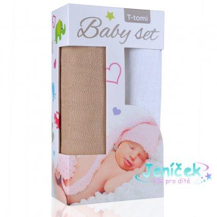 Baby set - bambusová osuška beige / béžová + bambusová osuška white / bílá