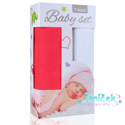 Baby set - bambusová osuška pink / růžová + bambusová osuška white / bílá