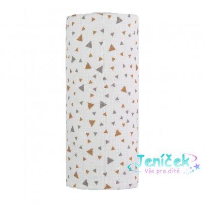 Velká bavlněná TETRA osuška, beige triangles / béžové trojúhelníky