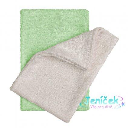 Koupací žínky - rukavice, natur+green / natur+zelená