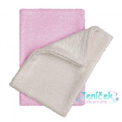 Koupací žínky - rukavice, natur+pink / natur+růžová