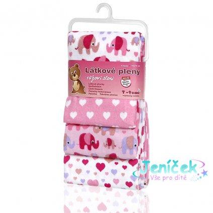 Látkové pleny, pink elephants / růžoví sloni