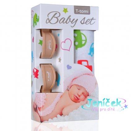 Baby set - bambusová osuška cars / auta+ kočárkový kolíček beige / béžová