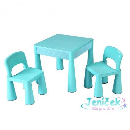 Dětská sada stoleček a dvě židličky NEW BABY mátová