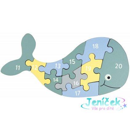 Dřevěné puzzle s čísly velryba