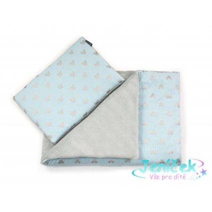 Blue MIKI blanket gray