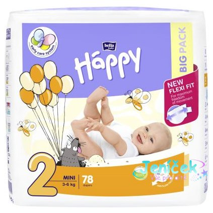 BELLA HAPPY Mini 2 (3-6 kg) Big Pack 4x78 ks - jednorázové plenky