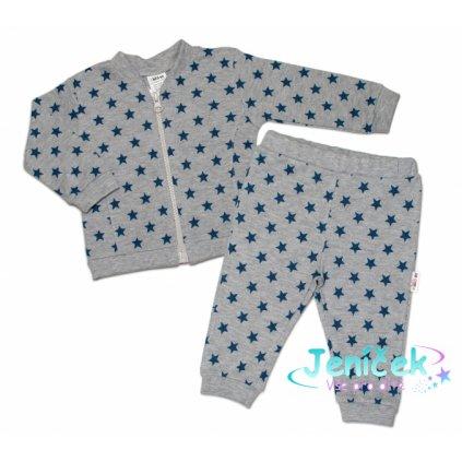 Bavlněná tepláková souprava Baby Nellys ® - Hvězdičky tm. modré/šedá
