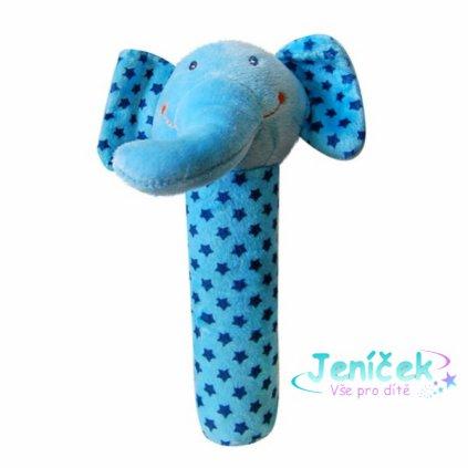 BOBA BABY Edukační plyšová hračka pískací  - slon modrý, 1 ks