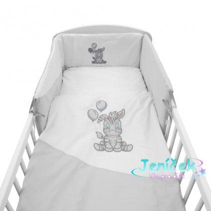 5-dílné ložní povlečení New Baby Zebra exclusive 90/120 bílo-šedé
