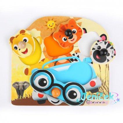 Hračka dřevěná puzzle Friendy Safari Faces HAPE 12m+