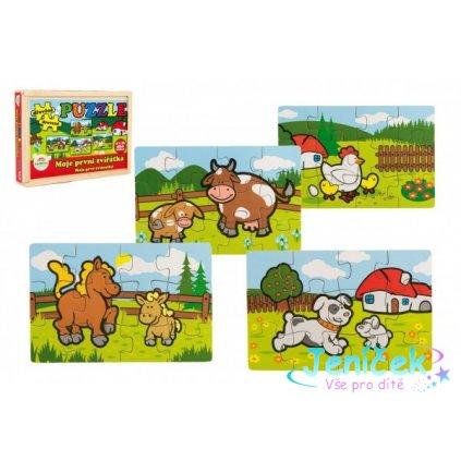Puzzle dřevěné Moje první zvířátka 4x12 dílků 20x14x3,5cm v dřevěné krabičce 24m+ MPZ