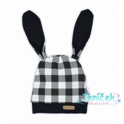 NICOL Kojenecká čepice Bunny kostky - černobílá