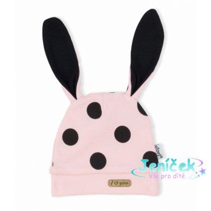 NICOL Kojenecká čepice Bunny puntíky - růžová
