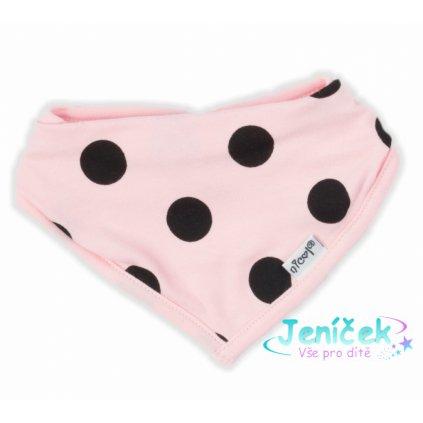 NICOL Bavlněný šátek na krk Bunny puntík - světle růžový