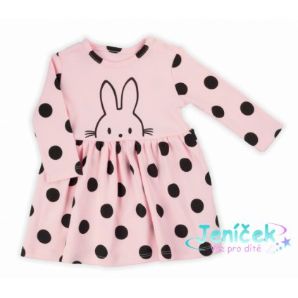 NICOL Šatičky Bunny puntík s dlouhým rukávkem - světle růžové