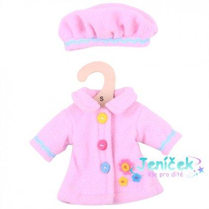 Bigjigs Toys Růžový kabátek s čepičkou pro panenku 28 cm