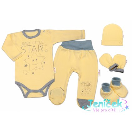 Baby Nellys 5-ti dílná soupravička do porodnice Baby Little Star - žlutá, K19