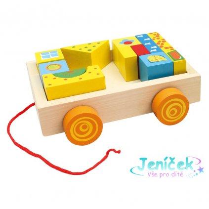 Bino Dřevěný vozík s kostkami 19 ks