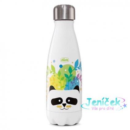 CHICCO Láhev nerezová termo Chicco Drinky Panda, 350 ml