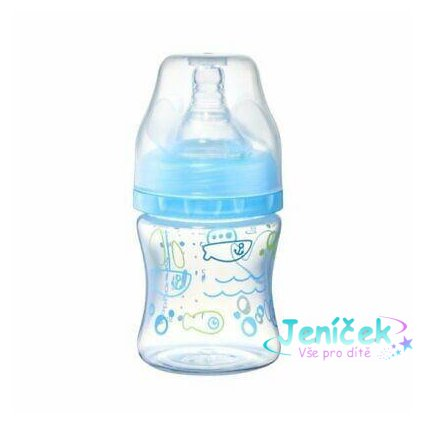 BABYONO Kojenecká antikoliková láhev široké hrdlo modrá 120 ml 0 m+