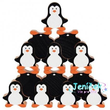 Goki Dřevěná skládací hra - tučňáci, 18ks