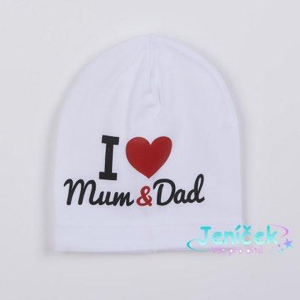 Dětská čepička New Baby I Love Mum and Dad bílá