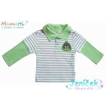 Mamatti Polo tričko dl.rukáv Ježek - zelený proužek