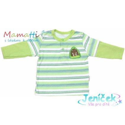 Polo tričko dlouhý rukáv Mamatti - FROG - zelené/proužky
