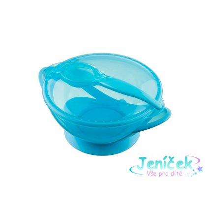 Dětská miska s přísavkou a se lžičkou Akuku modrá