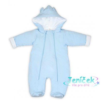 Baby Nellys ® Kombinézka s dvojitým zapínáním, s kapucí a oušky, sv. modrá, vel. 62