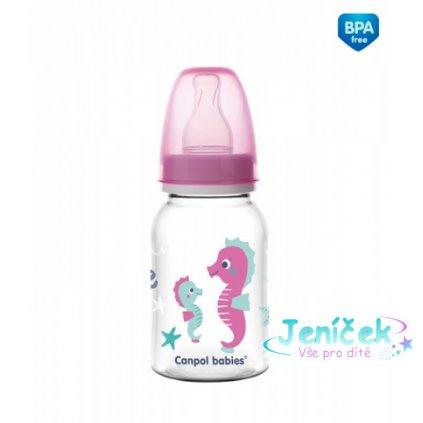 Canpol babies Lahvička s potiskem 120 ml Love&Sea - růžová