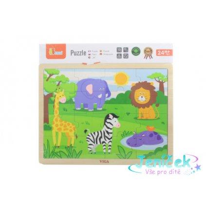 Dřevěné puzzle 16 dílků - divočina