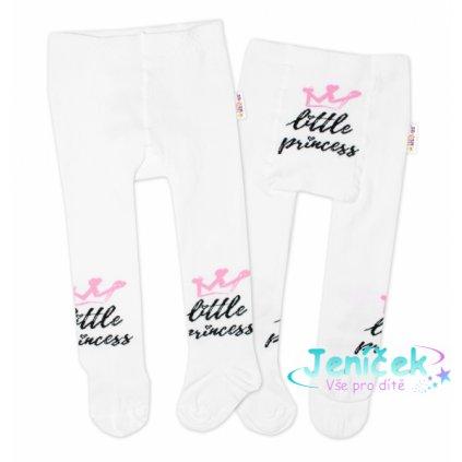 Baby Nellys Dětské punčocháče bavlněné, Little Princess - bílé
