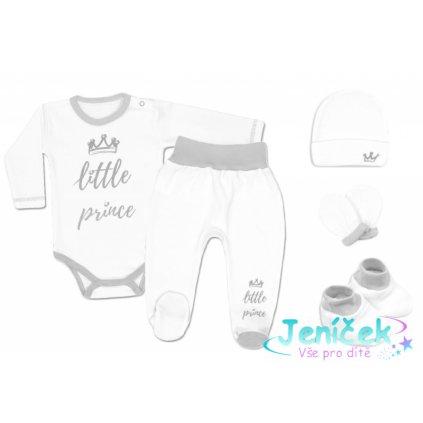 Baby Nellys 5-ti dílná soupravička do porodnice Little Prince, vel. 62 - bílá