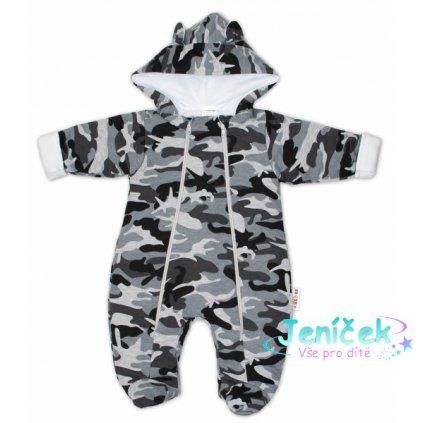 Kombinézka s kapuci a oušky s dvojitým zapínáním Army Baby Nellys ® maskáč šedý, vel. 62