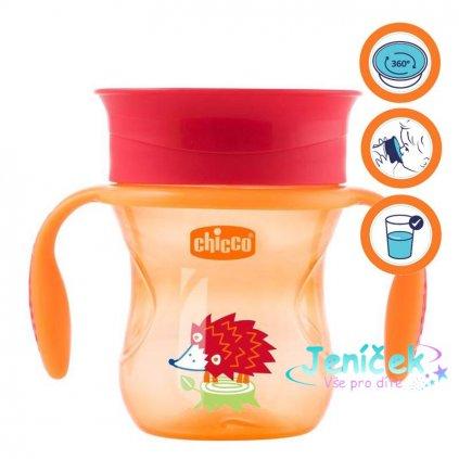 Hrneček Chicco 360 s držadly 200 ml, oranžový 12m+