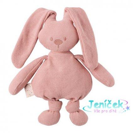 Hračka pletená bavlněná zajíček Lapidou cuddly pink 36 cm