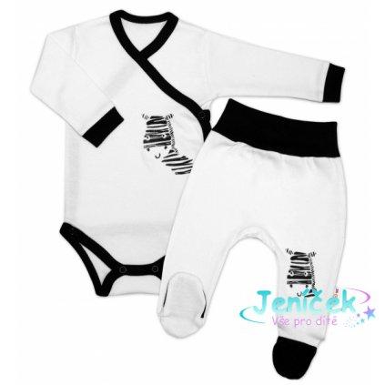 Baby Nellys 2-dílná sada body dl. rukáv + polodupačky, bílá - Zebra, vel. 62