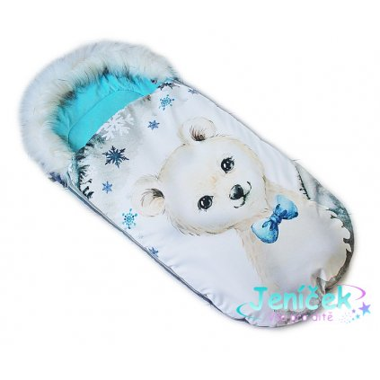Fusak Baby Nellys Winter Friends Lux velvet s kožešinkou, 105x55 cm - medvíd./tyrkys