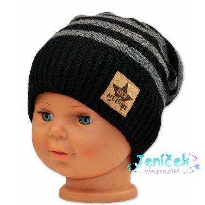 BABY NELLYS Podzimní/zimní proužkovaná čepice - černo/šedá
