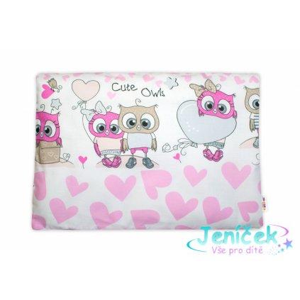 Baby Nellys Povlak na polštářek Cute Owls, 40x60 cm - růžový